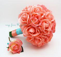 Korallen Real Touch Roses Aqua Hochzeit von SongsFromTheGarden