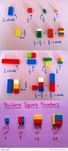 Lego is not for playtime only anymore. Here is a cool Lego idea - you can use LEGO To Explain Math To Children Easily . It includes fractions, squares . Math Skills, Math Lessons, Math Tips, Lego Math, Lego 4, Build Math, Bored Teachers, Best Teacher Ever, Teaching