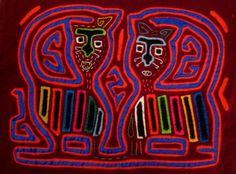 Kuna Indian Hand-Stitch Kitty Cat Mola Art-Panama 16040106L