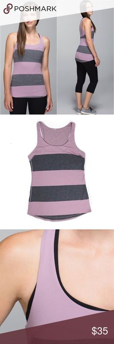 """L u l u l e m o n • F i r s t B a se • T a n k •10 Lululemon Run: First Base Tank Bold Stripe Mauvelous Heathered Black / Mauvelous Sz 10 (no tag, see measurements) Chest across - 16"""" Waist  - 15"""" Hip - 19"""" Length - 24""""   🍍 Excellent pre-owned condition  📸 Watermark photos are of the actual item you will receive   * lightweight and sweat-wicking Rulu™ Light fabric has four-way stretch that moves with you * breathable Mesh placed in high-sweat areas helps to you keep cool and dry  * shaped…"""