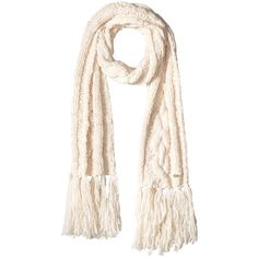 Cole Haan Chunky Cable Muffler with Fringe (Ivory) ($90) ❤ liked on Polyvore featuring accessories, scarves, wool shawl, cole haan, cable knit shawl, ivory shawl and chunky scarves