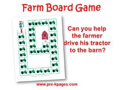 Farm Board Game for preschool and kindergarten
