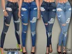 Sims 4 CC's - The Best: Ripped Denim Jeans by Pinkzombiecupcakes