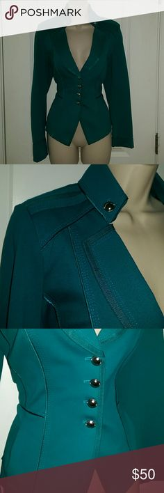 "Teal/turquoise military style jacket Teal/turquoise military style jacket from WHITE HOUSE BLACK MARKET  Size 6  Bust (underarm to underarm - UNSTRETCHED): 37"" Bust (underarm to underarm - STRETCHED): up to 42"" Length (shoulder to hem): 22.5"" Sleeve length (shoulder to cuff): 25""  With silvertone hardware on front and on collar. Beautifully finished.Adorable pleated detail on tail.Padded shoulders. In comfortable stretch jersey fabric (68% rayon, 28% nylon, 4% spandex).In excellent gently…"