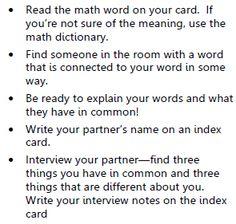 Math Coach's Corner: Math Get Acquainted Activity