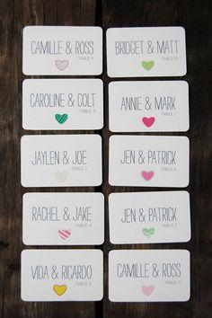 escort cards...cute & simple