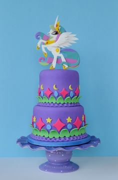 Princess Celestia Cake - Princess Celestia is featured in this 'My Little Pony' themed birthday cake.