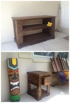 TV Stand Side Table Bench #Furniture, #PalletTvStand, #Pallets