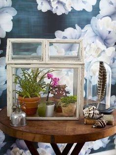 Give your ferns, orchids, and other hothouse plants a lovely place to call home with this craft project. Made from picture frames, the glass house does require some work—and at least a few free hours—but the result produces a Victorian-style indoor oasis.   - CountryLiving.com