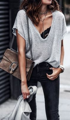 street style. gucci dionysus bag. V neck tee. lace bra. denim.