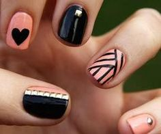 black & pink design nails