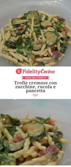 Creamy Trofie with zucchini, rocket and bacon - Buoni - Nudel Salat İdeen Pasta Recipes, Cooking Recipes, Healthy Recipes, Zucchini, Weird Food, Italian Pasta, Pancetta, Pasta Dishes, Food Inspiration
