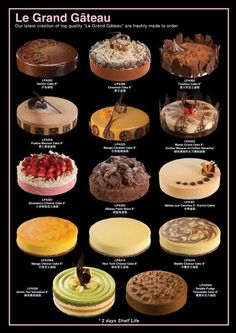 Cakes Bakery Menu, Bakery Recipes, Dessert Recipes, Cooking Recipes, Fancy Desserts, Delicious Desserts, Yummy Food, Cafe Food, Food Menu