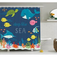 Cartoon Decor  Artsy Underwater Graphic With Algaes Coral Reefs Turtles Sword Fishes The Life Aquatic Motion, Bathroom Accessories, 69W X 84L Inches Extra Long, By Ambesonne
