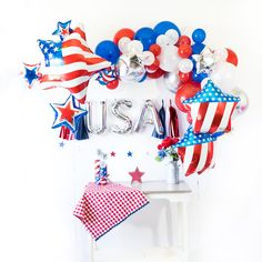 Balloons Handmade Tassels Banners & Confetti by SoireeLove Balloon Tassel, Balloon Banner, Balloon Bouquet, Balloon Arch, Balloon Box, 4th Of July Celebration, 4th Of July Party, July 4th, 4th Of July Decorations