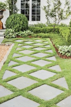 How Landscaping Added Instant Charm to this New Birmingham Home : How do you catch the eyes of passersby? Design a welcoming path. Dorlon pulled inspiration for this diamond-patterned one from an existing exterior feature. Stone Garden Paths, Garden Stepping Stones, Stone Path, Stone Steps, Zoysia Grass, Landscape Edging, Landscape Art, Landscape Paintings, Landscape Lighting