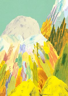 Mountains by Natasha-Durley Illustrations, Illustration Sketches, Graphic Design Art, Graphic Design Illustration, Sketchbook Inspiration, Modern Artists, Landscape Illustration, Pattern Art, Painting & Drawing