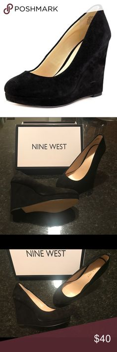 Nine West Black Wedge Heels 👠 Round-toe, faux suede heels with 4 inch wedge and 1/2 inch platform. Never worn! Nine West Shoes Wedges