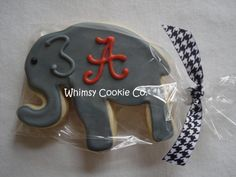 #alabama #elephant #iced #sugar #cookie  That's actually not a very good icing job. Sloppy and odd. Can do much better. The dark gray icing matches better, but the more coloring you put in, the more bitter and unpleasant it will taste. I'd sacrifice deep color to spare a bad taste.