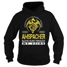 AMSPACHER Blood Runs Through My Veins - Last Name, Surname TShirts