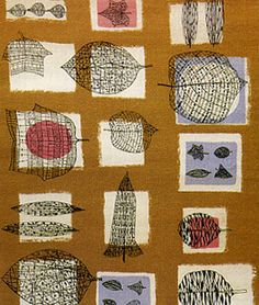 Lesson 10 Lucienne Day - An Art teacher before marrying the designer Robin Day and becoming a household name in British textiles during the Design Textile, Textile Prints, Textile Patterns, Textile Art, Fabric Design, Print Patterns, Print Design, Leaf Prints, Pattern Art