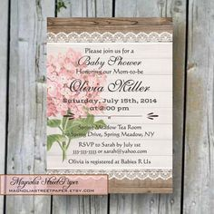 Printable Baby Shower Invitation Baby Girl by magnoliastreetpaper, $19.95