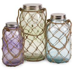 Sea Glass Jar Set of 3 (1 985 ZAR) ❤ liked on Polyvore featuring home, home decor, accessories, coastal, decor, furniture, sea glass jars and sea glass home decor