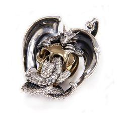 Dragon/Drake/Brass Skull/925 Sterling Silver Pendant/Silver Dragon Pendant/Drake Charm/Gothic/Skull/Biker Jewelry/Men's/Women's gb-108 Skull Pendant, Dragon Pendant, Sterling Silver Bracelets, Sterling Silver Pendants, Silver Skull Ring, Gothic Rings, Dragon Jewelry, Silver Dragon, Engraved Rings