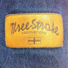 leather patch Three Stroke Productions logo #threestroke #three stroke #three stroke productions #casuals #casualclothing #casualclobber #casualculture