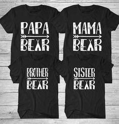 Family Bear T-shirt, Papa Bear T-shirt, Mama Bear T-shirt, Brother Bear T-shirt,  Sister Bear T-shirt, Cotton Screen Printed, Bella Canvas