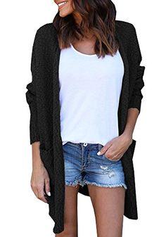 Beautife Women Long Sleeve Open Front Drape Pockets Knitted Sweaters Cardigan