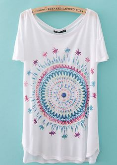 To find out about the White Short Sleeve Spiral Pattern Loose T-Shirt at SHEIN, part of our latest T-Shirts ready to shop online today! Spiral Pattern, Summer Shirts, Printed Shorts, Fashion Pictures, Types Of Fashion Styles, Dress Me Up, Flower Prints, White Shorts, What To Wear