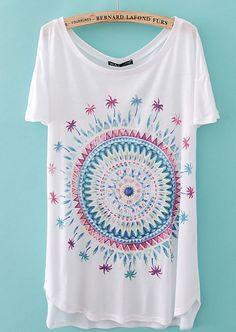 White Short Sleeve Spiral Pattern Loose T-Shirt - Sheinside.com