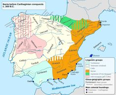 Principais áreas linguísticas da Península Ibérica c.300 AC: aquitânica (verde), ibérica (laranja), celta e proto-celta (branco, rosa e azul claro), colónias cartaginesas (azul) e gregas (vermelho) - Principais áreas linguísticas da Península Ibérica c.300 AC: aquitânica (verde), ibérica (laranja), celta e proto-celta (branco, rosa e azul claro), colónias cartaginesas (azul) e gregas (vermelho) Aquitânicos Aquitanos Autrigones - por vezes considerados célticos [3]. C