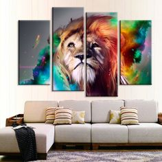 Colorful Lion Canvas Artwork, Multi Panel Framed Canvas Set, Wild Lion Painting Wall Art, Animal Canvas Print Decor, Modern Decoration Gift by GTCreativeArt on Etsy Canvas Artwork, Canvas Wall Art, Framed Canvas, Wall Paintings, Canvas Poster, Canvas Prints, Tableau 5 Parties, Images Murales, Chinoiserie