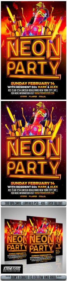 Neon Fridayz Night Psd Flyer Template  Psd Flyer Templates Flyer