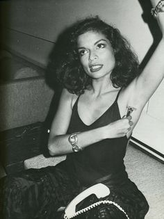 Bianca Jagger, multi-tasking at Halston's apartment, shot by Andy Warhol