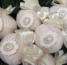 Купить Новогодние шары на елку - комбинированный, стразы, шары на елку, шары новогодние, ручная работа