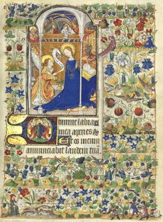 Annonciation et armoiries (mi-parties de Bretagne et d'Orléans) de Marguerite d'Orléans, femme de Richard, comte d'Etampes, pour qui le manuscrit a été exécuté. (f°31r) -- Horae ad usum romanum («Heures de Marguerite d'Orléans»), entre 1426 et 1438 [BNF Ms Latin 1156B]