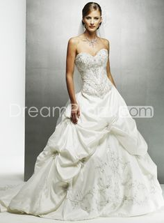 Pretty A-Line Sweetheart Strapless Sleeveless Embroidery & Pick-ups Wedding Dresses