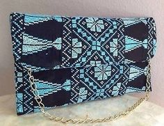 Rare Arabic Hand Embroidered Oriental Palestinian Clutch Purse Bag Pochette Sac