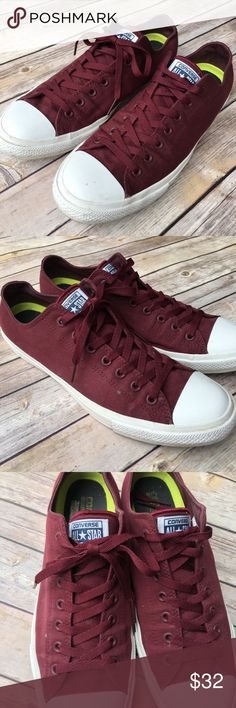 Burgundy maroon Converse chuck Taylor's In good used condition. Not much wear, lots of life left. Converse Shoes