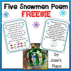 Grab this FREE Five Snowmen poem to go with your ornament. Happy Holidays!