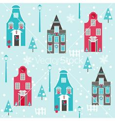 Seamless christmas house background vector - by woodhouse84 on VectorStock®