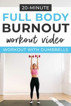 dumbbell workout Legs, upper body and core: hit it all in this dumbbell strength and cardio home workout! The best full body workout you can knock out in just 20 minutes! Cardio, Hiit Workout At Home, 20 Minute Workout, Workout Videos, At Home Workouts, Body Workouts, Workout Plans, Circuit Training Workouts, Workout Tips