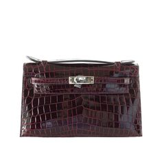 HERMES Kelly JPG pochette bag rare Bordeaux crocodile palladium | From a collection of rare vintage clutches from dealer mightychic at https://www.1stdibs.com/fashion/handbags-purses-bags/clutches/