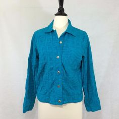 CHICO'S Size 1 = 8/10 Cropped Turquoise Jacket Cotton Button Front Womens EUC #Chicos #Jacket #Casual