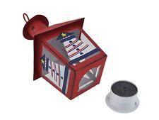 Set of 3 Red/White/Blue Nautical Mini Metal Tealight Lanterns