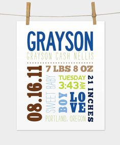 Mixed Typography Birth Print by mosieposies on Etsy, $19.00