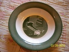 Antique Colonial Homestead Royal China Soup Salad Bowl Green with Baby Cradle. $16.00, via Etsy.
